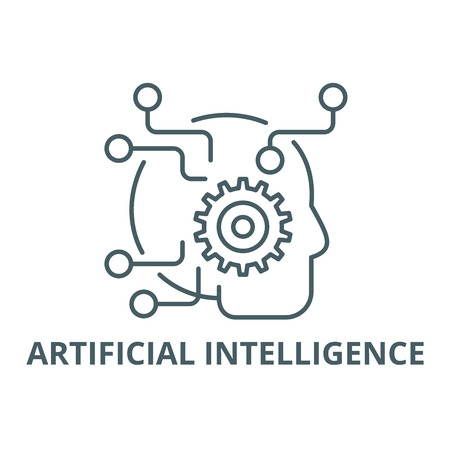 Artificial intelligence line icon, vector. Artificial intelligence outline sign, concept symbol, illustration
