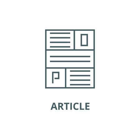 Article line icon, vector. Article outline sign, concept symbol, illustration