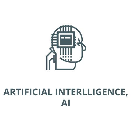 Artificial interlligence,ai line icon, vector. Artificial interlligence,ai outline sign, concept symbol, illustration