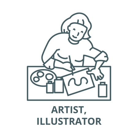 Artist,illustrator, woman line icon, vector. Artist,illustrator, woman outline sign, concept symbol, illustration  イラスト・ベクター素材