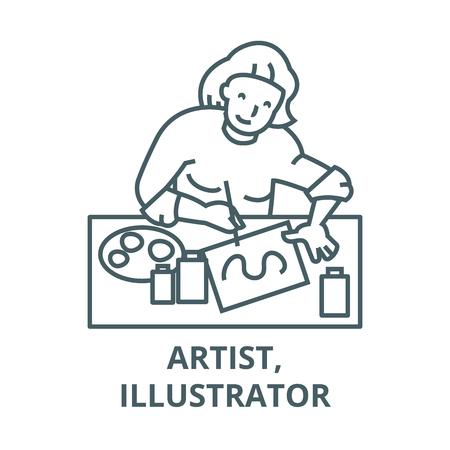 Artist,illustrator, woman line icon, vector. Artist,illustrator, woman outline sign, concept symbol, illustration Ilustração