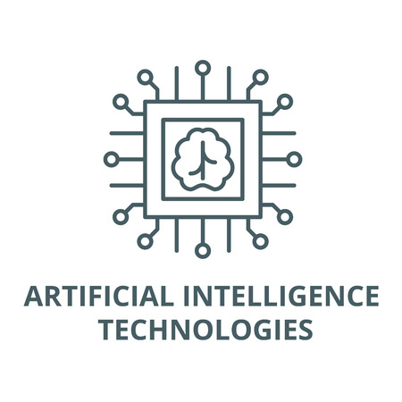 Artificial intelligence technologies line icon, vector. Artificial intelligence technologies outline sign, concept symbol, illustration