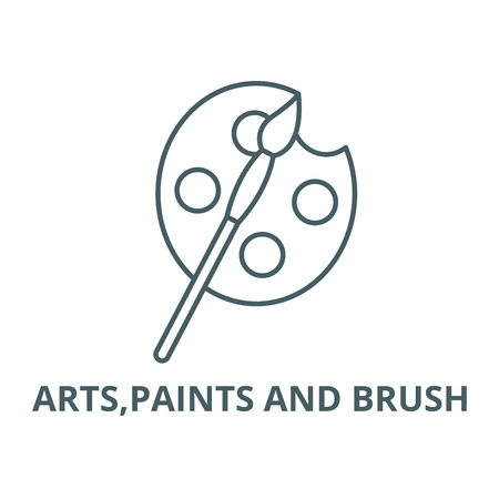 Arts,paints and brush  line icon, vector. Arts,paints and brush  outline sign, concept symbol, illustration Archivio Fotografico - 120732026