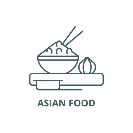 Asian food line icon, vector. Asian food outline sign, concept symbol, illustration Stock Vector - 120732027