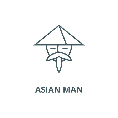 Asian man line icon, vector. Asian man outline sign, concept symbol, illustration