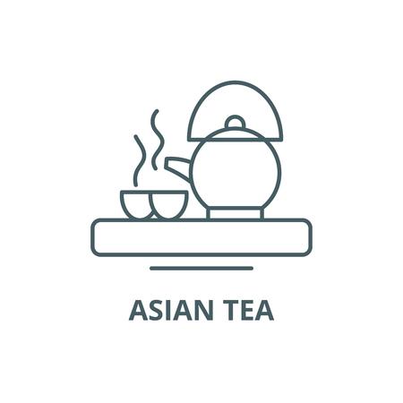 Asian tea line icon, vector. Asian tea outline sign, concept symbol, illustration Illustration