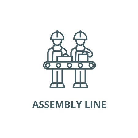 Assembly line line icon, vector. Assembly line outline sign, concept symbol, illustration Vettoriali