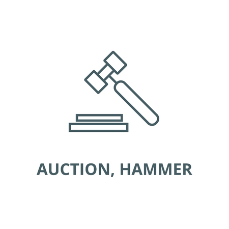 Auction, hammer line icon, vector. Auction, hammer outline sign, concept symbol, illustration