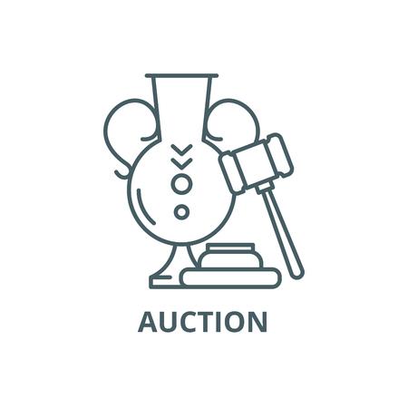 Auction line icon, vector. Auction outline sign, concept symbol, illustration