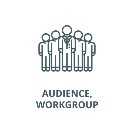Audience,marketing team,workgroup line icon, vector. Audience,marketing team,workgroup outline sign, concept symbol, illustration  イラスト・ベクター素材