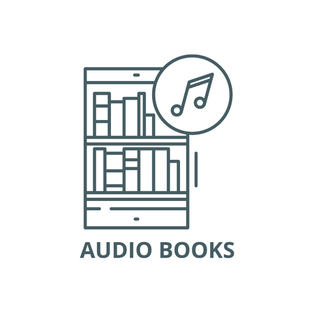 Audio books line icon, vector. Audio books outline sign, concept symbol, illustration