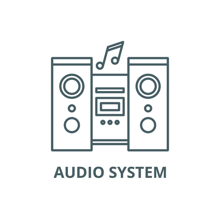 Audio system line icon, vector. Audio system outline sign, concept symbol, illustration