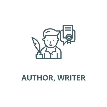Author, writer line icon, vector. Author, writer outline sign, concept symbol, illustration Banque d'images - 123789899