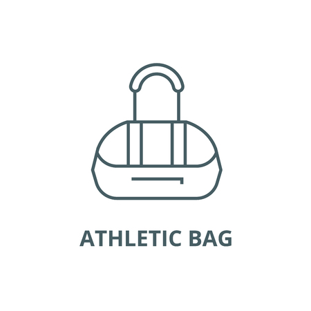 Athletic bag line icon, vector. Athletic bag outline sign, concept symbol, illustration  イラスト・ベクター素材