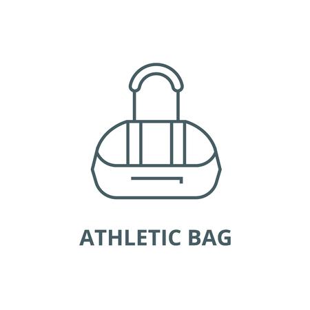 Athletic bag line icon, vector. Athletic bag outline sign, concept symbol, illustration Illustration