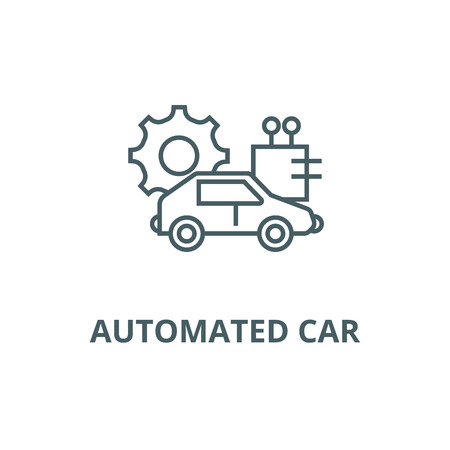 Automated car line icon, vector. Automated car outline sign, concept symbol, illustration