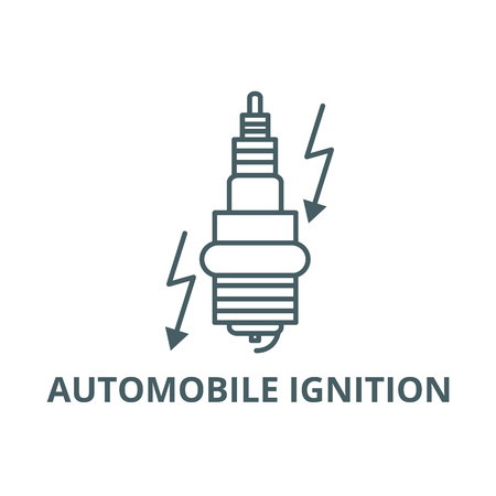 Automobile ignition line icon, vector. Automobile ignition outline sign, concept symbol, illustration