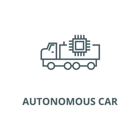 Autonomous car line icon, vector. Autonomous car outline sign, concept symbol, illustration