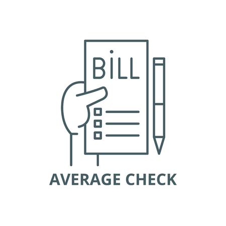 Average check line icon, vector. Average check outline sign, concept symbol, illustration  イラスト・ベクター素材