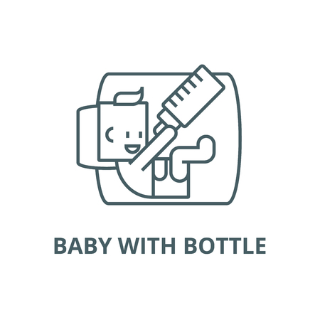 Baby with bottle line icon, vector. Baby with bottle outline sign, concept symbol, illustration