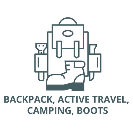 Backpack, active travel, camping, boots line icon, vector. Backpack, active travel, camping, boots outline sign, concept symbol, illustration