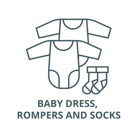 Baby dress, rompers and socks line icon, vector. Baby dress, rompers and socks outline sign, concept symbol, illustration