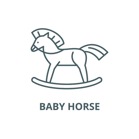 Baby horse line icon, vector. Baby horse outline sign, concept symbol, illustration