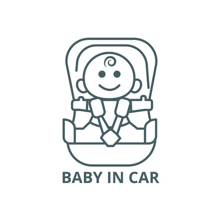 Baby in car, security chair line icon, vector. Baby in car, security chair outline sign, concept symbol, illustration Vectores