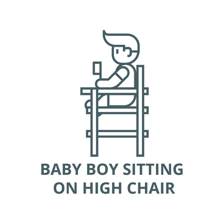 Baby boy sitting on high chair line icon, vector. Baby boy sitting on high chair outline sign, concept symbol, illustration