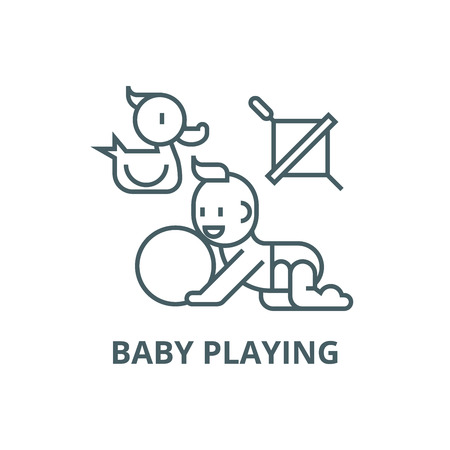 Baby playing,duck, baby, ball, whirligig line icon, vector. Baby playing,duck, baby, ball, whirligig outline sign, concept symbol, illustration Ilustracja