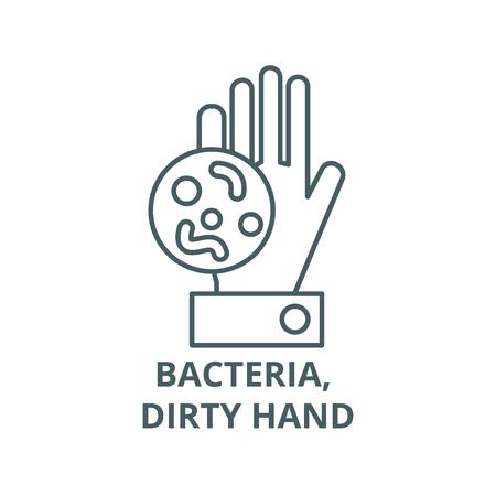Bactéries, icône de ligne de main sale, vecteur. Bactéries, signe de contour de main sale, symbole de concept, illustration Vecteurs