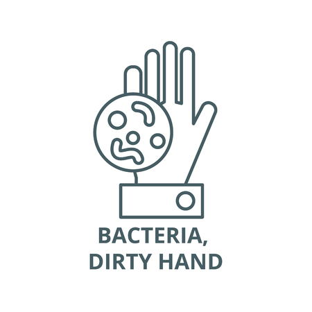 Batteri, icona della linea della mano sporca, vettore. Batteri, segno di contorno della mano sporca, simbolo di concetto, illustrazione Vettoriali