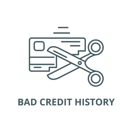 Bad credit history line icon, vector. Bad credit history outline sign, concept symbol, illustration Illustration