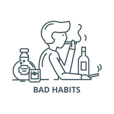 Bad habits line icon, vector. Bad habits outline sign, concept symbol, illustration  イラスト・ベクター素材