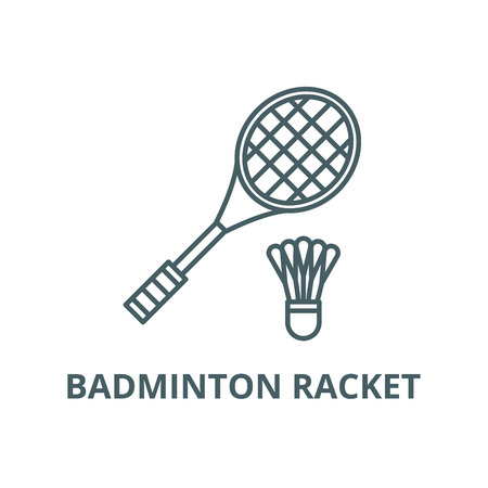 Badminton racket line icon, vector. Badminton racket outline sign, concept symbol, illustration 矢量图像
