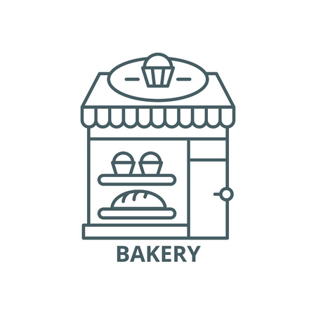 Bakery line icon, vector. Bakery outline sign, concept symbol, illustration  イラスト・ベクター素材