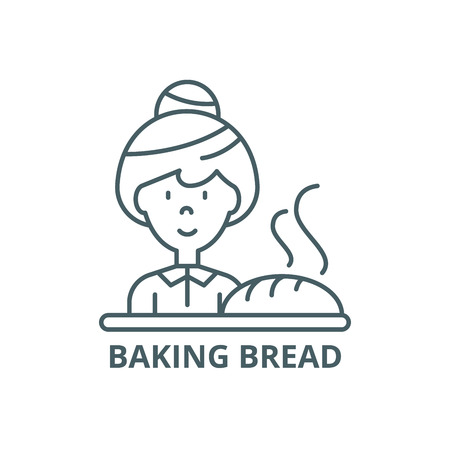 Baking bread line icon, vector. Baking bread outline sign, concept symbol, illustration