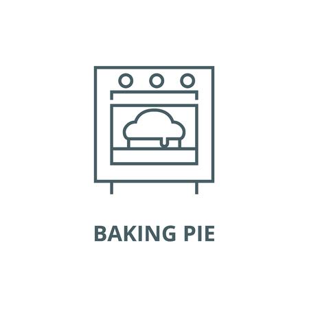 Baking pie line icon, vector. Baking pie outline sign, concept symbol, illustration Illusztráció
