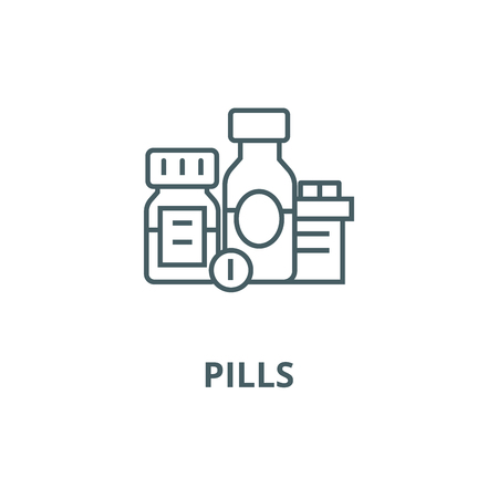 Baa, biologically active additives, pills, medicament line icon, vector. Baa, biologically active additives, pills, medicament outline sign, concept symbol, illustration