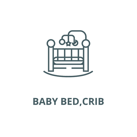 Baby bed,crib line icon, vector. Baby bed,crib outline sign, concept symbol, illustration Illustration