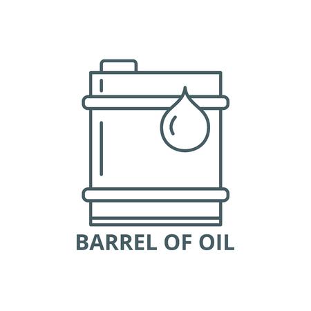 Barrel of oil line icon, vector. Barrel of oil outline sign, concept symbol, illustration