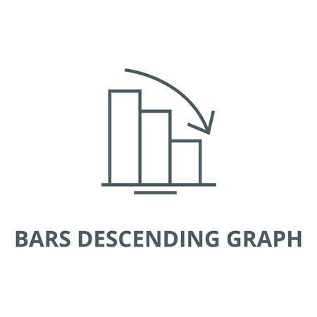 Balken absteigende Diagrammlinie Symbol, Vektor. Balken absteigendes Diagrammumrisszeichen, Konzeptsymbol, Illustration