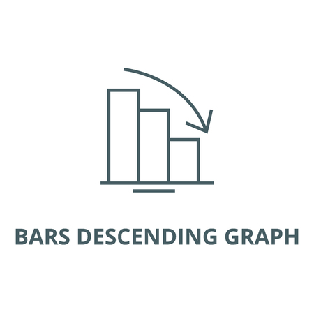 Bars descending graph line icon, vector. Bars descending graph outline sign, concept symbol, illustration Ilustrace