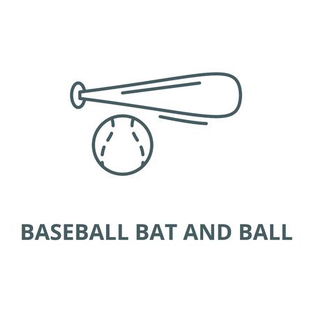 Baseball bat and ball line icon, vector. Baseball bat and ball outline sign, concept symbol, illustration Illustration