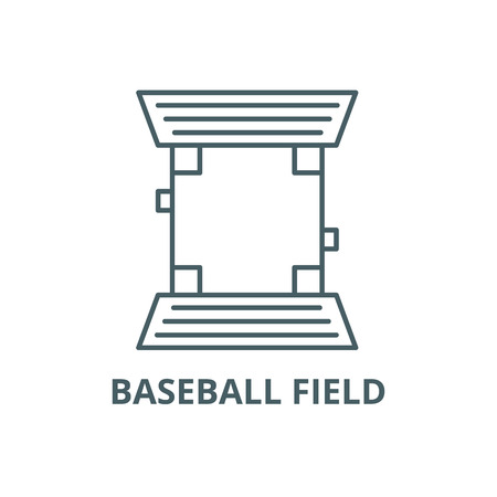 Baseball field line icon, vector. Baseball field outline sign, concept symbol, illustration