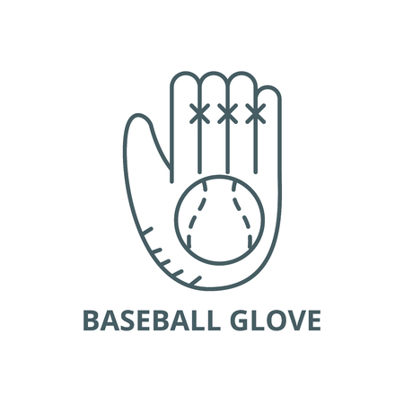 Baseball glove line icon, vector. Baseball glove outline sign, concept symbol, illustration Banco de Imagens - 123789948