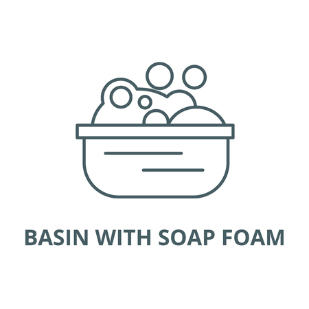 Basin with soap foam line icon, vector. Basin with soap foam outline sign, concept symbol, illustration