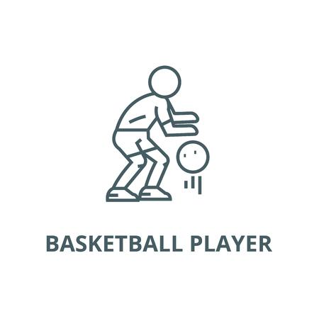 Basketball player line icon, vector. Basketball player outline sign, concept symbol, illustration