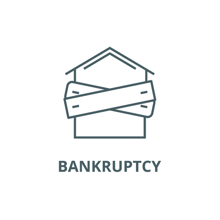 Bankruptcy,boarded up house line icon, vector. Bankruptcy,boarded up house outline sign, concept symbol, illustration