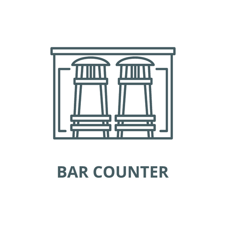 Bar counter line icon, vector. Bar counter outline sign, concept symbol, illustration
